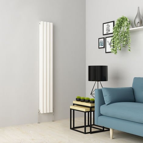 Norden 1600 x 237mm White Double Oval Tube Vertical Radiator