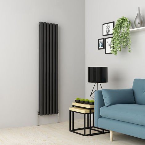 Norden 1600 x 355mm Anthracite Double Oval Tube Vertical Radiator