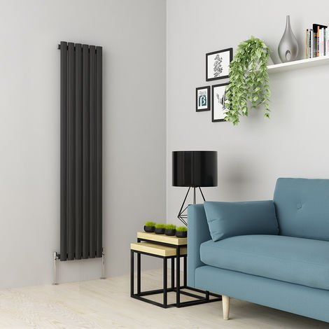 Norden 1600 x 355mm Anthracite Single Oval Tube Vertical Radiator