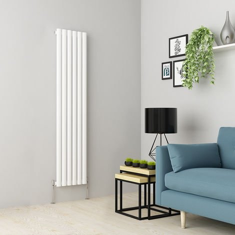 Norden 1600 x 355mm White Single Oval Tube Vertical Radiator