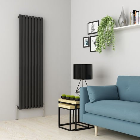 Norden 1600 x 473mm Anthracite Single Oval Tube Vertical Radiator