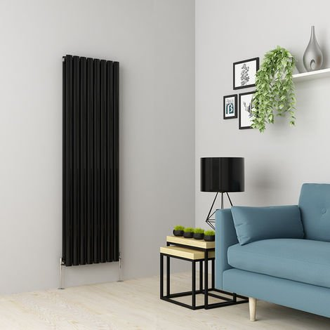 Norden 1600 x 473mm Black Double Oval Tube Vertical Radiator