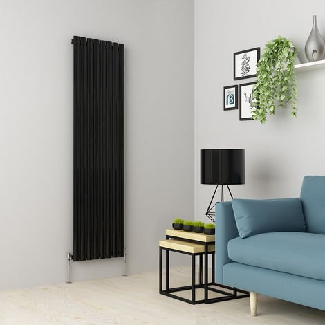 Norden 1600 x 473mm Black Single Oval Tube Vertical Radiator