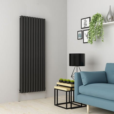 Norden 1600 x 591mm Anthracite Double Oval Tube Vertical Radiator