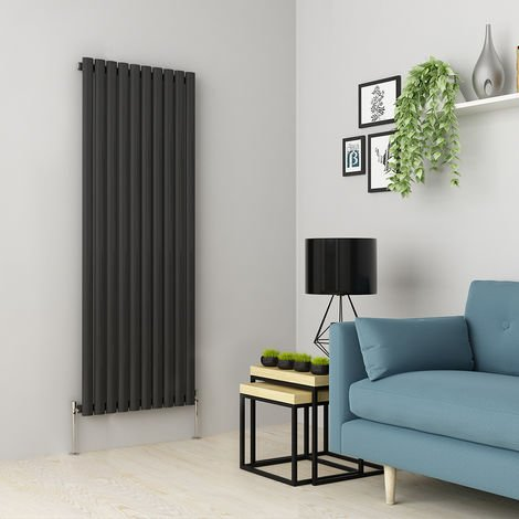 Norden 1600 x 591mm Anthracite Single Oval Tube Vertical Radiator