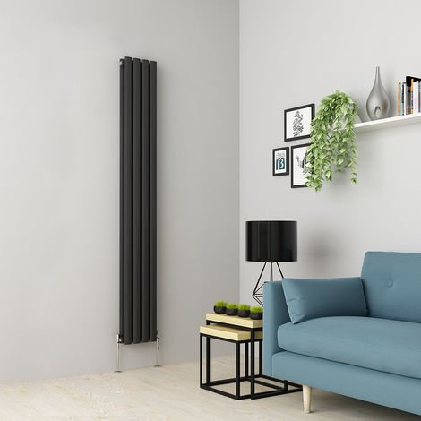 Norden 1800 x 237mm Anthracite Double Oval Tube Vertical Radiator