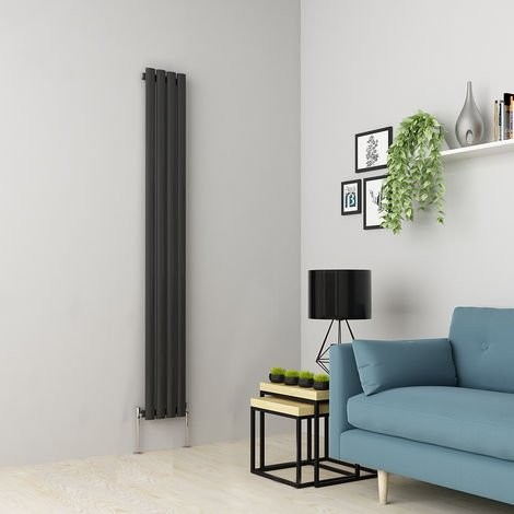 Norden 1800 x 237mm Anthracite Single Oval Tube Vertical Radiator