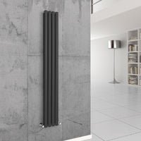 Norden 1800 x 240mm Sand Grey Double Oval Tube Vertical Radiator