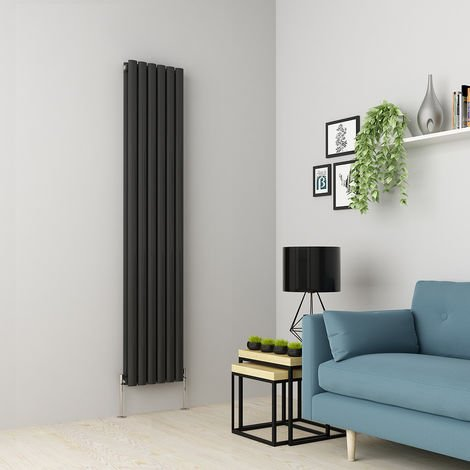Norden 1800 x 355mm Anthracite Double Oval Tube Vertical Radiator
