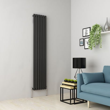 Norden 1800 x 355mm Anthracite Single Oval Tube Vertical Radiator