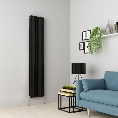 Norden 1800 x 355mm Black Double Oval Tube Vertical Radiator