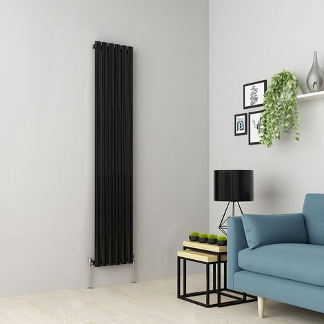 Norden 1800 x 355mm Black Single Oval Tube Vertical Radiator