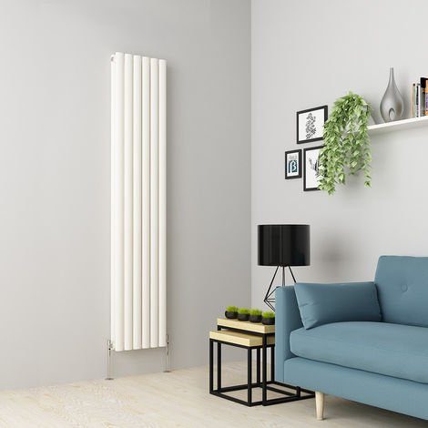 Norden 1800 x 355mm White Double Oval Tube Vertical Radiator