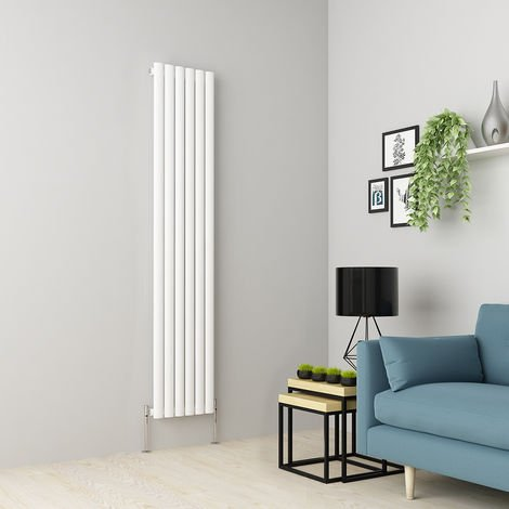 Norden 1800 x 355mm White Single Oval Tube Vertical Radiator