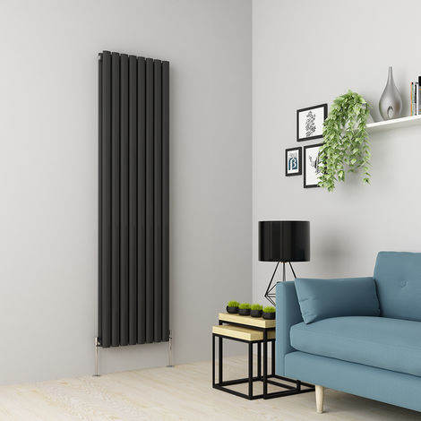 Norden 1800 x 473mm Anthracite Double Oval Tube Vertical Radiator