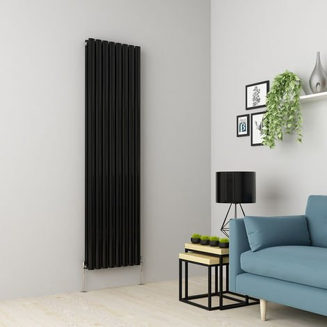 Norden 1800 x 473mm Black Double Oval Tube Vertical Radiator