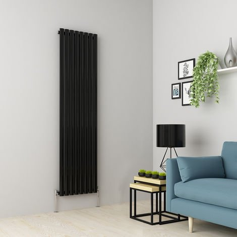 Norden 1800 x 473mm Black Single Oval Tube Vertical Radiator