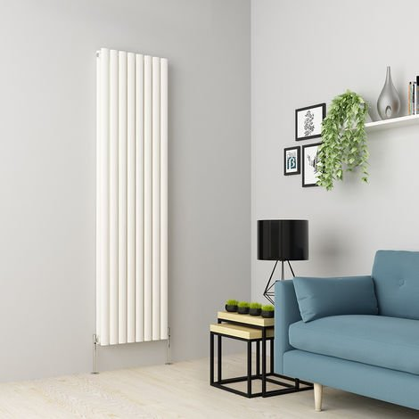 Norden 1800 x 473mm White Double Oval Tube Vertical Radiator