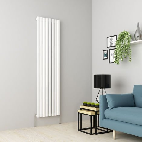 Norden 1800 x 473mm White Single Oval Tube Vertical Radiator