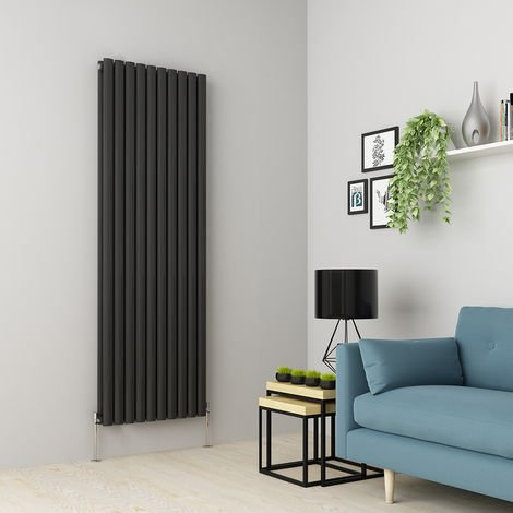Norden 1800 x 591mm Anthracite Double Oval Tube Vertical Radiator