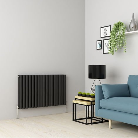 Norden 600 x 1004mm Anthracite Double Oval Tube Horizontal Radiator