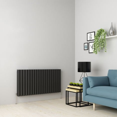 Norden 600 x 1181mm Anthracite Double Oval Tube Horizontal Radiator