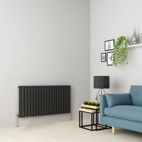 Norden 600 x 1181mm Anthracite Single Oval Tube Horizontal Radiator