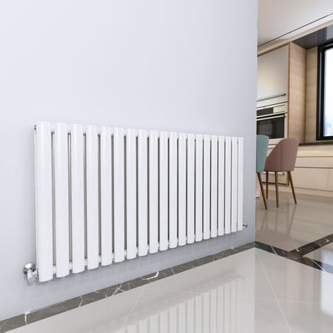 Norden 600 x 1200mm White Double Oval Tube Horizontal Radiator