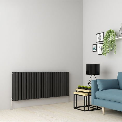 Norden 600 x 1417mm Anthracite Double Oval Tube Horizontal Radiator