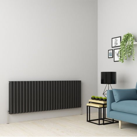 Norden 600 x 1594mm Anthracite Double Oval Tube Horizontal Radiator