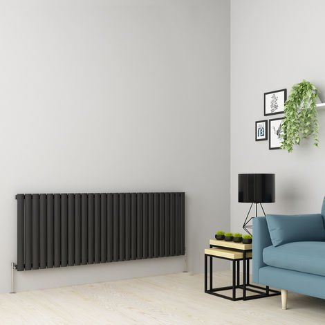 Norden 600 x 1594mm Anthracite Single Oval Tube Horizontal Radiator