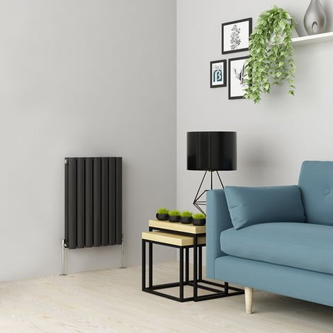 Norden 600 x 414mm Anthracite Double Oval Tube Horizontal Radiator