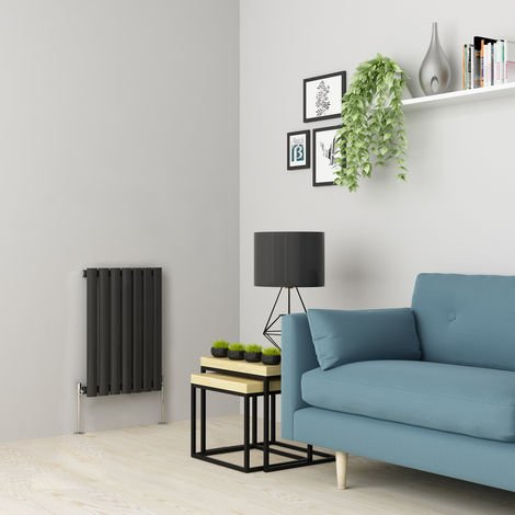 Norden 600 x 414mm Anthracite Single Oval Tube Horizontal Radiator