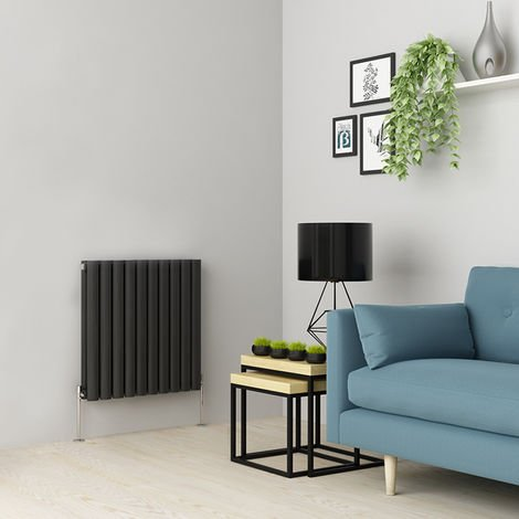 Norden 600 x 591mm Anthracite Double Oval Tube Horizontal Radiator