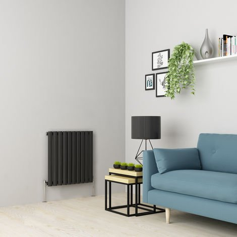 Norden 600 x 591mm Anthracite Single Oval Tube Horizontal Radiator