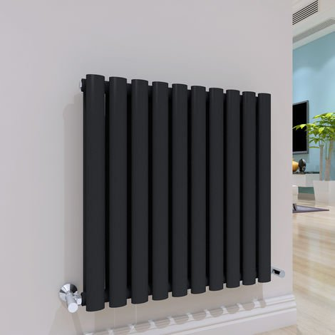 Norden 600 x 600mm Sand Grey Double Oval Tube Horizontal Radiator