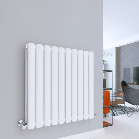 Norden 600 x 600mm White Double Oval Tube Horizontal Radiator