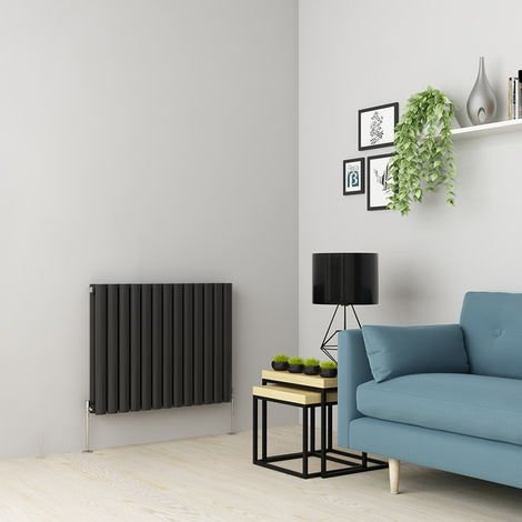 Norden 600 x 768mm Anthracite Double Oval Tube Horizontal Radiator