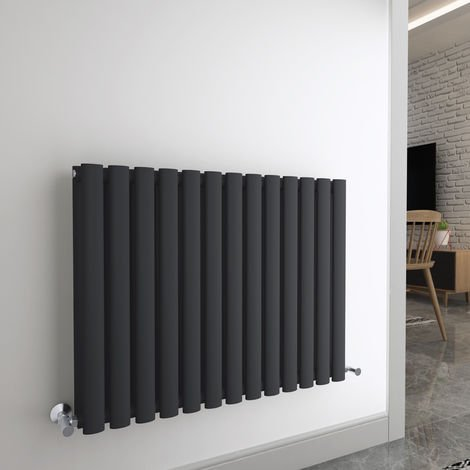 Norden 600 x 780mm Sand Grey Double Oval Tube Horizontal Radiator