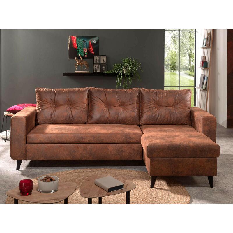 prix compétitif 33f2a a5fe0 NORDIC - Canapé d'angle réversible - 4 places - Convertible - Industriel  vintage