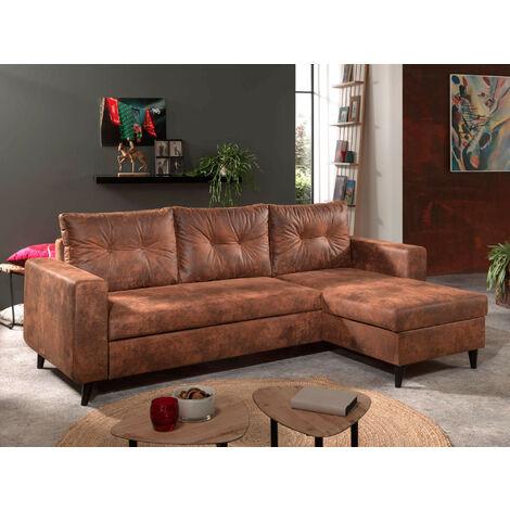 NORDIC - Canapé d'angle réversible - 4 places - Convertible - Industriel vintage Couleur - Marron - Marron