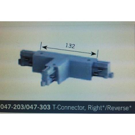NORDIC LIGHT 047-203 - Raccord T Revers Droit pour Rail Luminaire BLANC