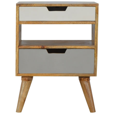 Nordic Style Grey 2 Drawer Cut-out Bedside