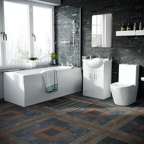 Norf Complete Bathroom Suite - Bath Tub, Close Coupled Toilet, Slider Rail Thermostatic Shower, Basin Vanity Unit, Tap Set & Wastes
