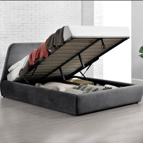 Norka - Lit coffre - 160x200 cm - Velours gris