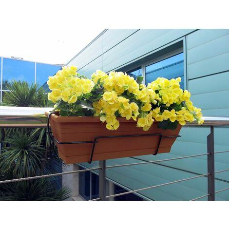 Nortene Jardinera Balconera Floria con soporte metálico 60x20x18 cm