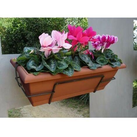 Nortene Jardinera balconera Floria con soporte metálico 62x24x20 cm