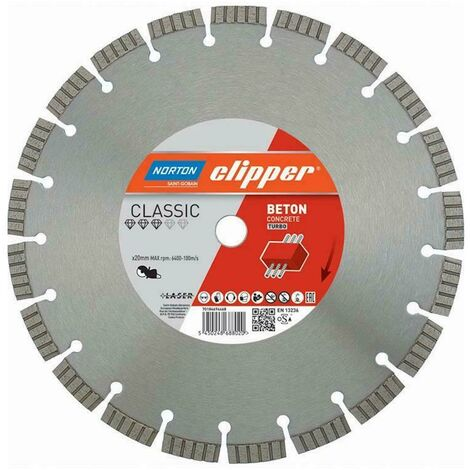 Norton Clipper Disques diamant Classic Beton Turbo - 300x20,0 mm