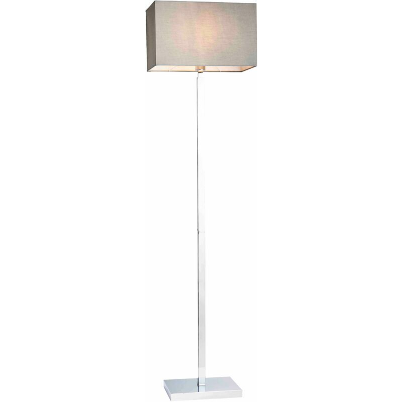 Image of 04-endon - Norton Rectangular Floor Lamp in Steel, Chrome Plate and Gray Fabric