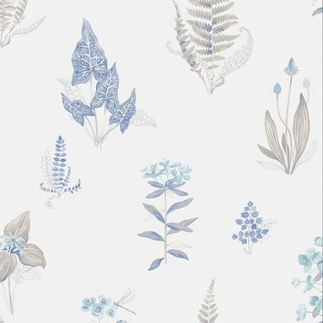 Norwall Blue White Floral Leaf Wallpaper Botanical Flowers Pre-Pasted Vinyl